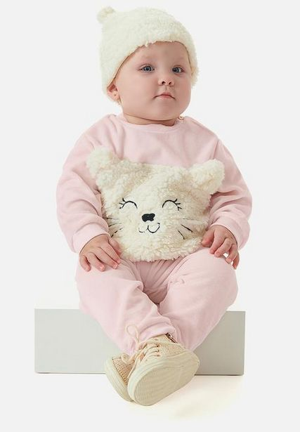 Girls plush top and pants set - light pink offers at R 296