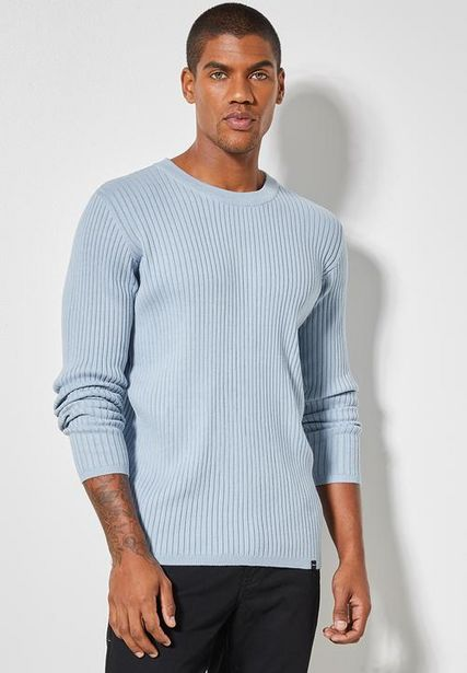 Slim fit ribbed crew neck knit - pale blue offers at R 200