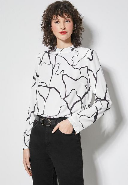 Basic squiggle shell blouse - white & black  offers at R 209