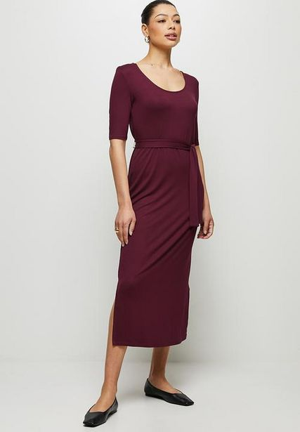 Conscious ballet sleeve scoop neck slit midi - berry offers at R 239