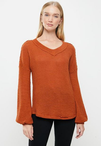 V-neck long sleeve top - tobacco offers at R 200