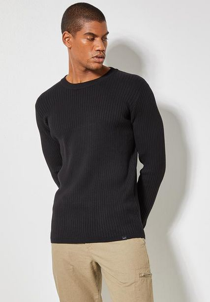 Slim fit ribbed crew neck knit - black offers at R 200