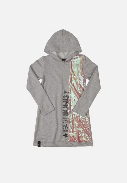 Girls sweat dress with sequin details - grey offers at R 242