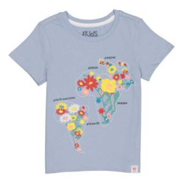 Older Girl Floral World Map Cotton Tee offers at R 55