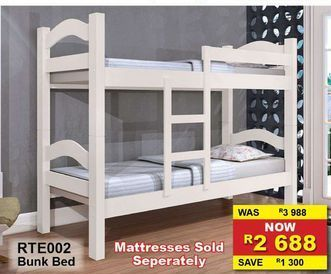 Mattresses https://www.furnitureliquidation.co.za/shop/rte002-bunk-bed/Sold Seperately offers at