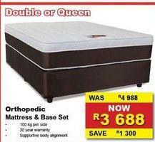 Orthopedic mattress & base set offers at R 3688