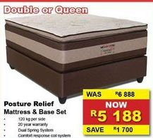 Posture Relief mattress & base set offers at R 5188