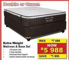 Extra Weight Mattress & base set offers at R 5988