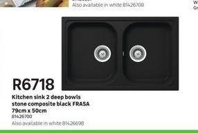 Kitchen sink 2 deep bowls stone composite black FRASA  offers at R 6718