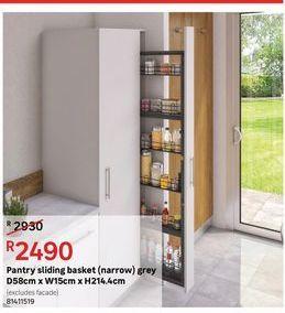 Pantry sliding basket (narrow) grey offers at R 2490