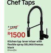Kitchen tap lever mixer with flexible spray DELINIA thomas black offers at R 1500
