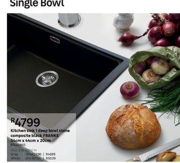 Kitchen Sinks 1 deep bowl stone composite black FRANKE  offers at R 4799