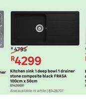 Kitchen sink 1 deep bowl 1 drainer stone composite black FRASA offers at R 4299