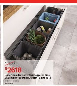 Under sink drawers with integrated bins offers at R 2618