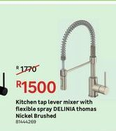 Kitchen tap lever mixer with flexible spray DELINIA thomas Nickel Brushed offers at R 1500