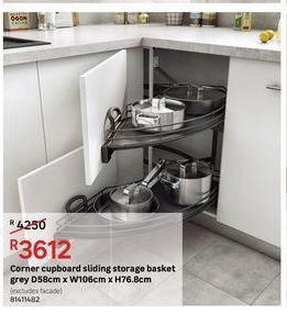 Corner cupboard sliding storage basket grey offers at R 3612