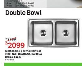 Kitchen sink 2 bowls stainless steel anti-scratch CAM AFRICA  offers at R 2099