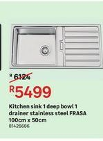 Kitchen sink 1 deep bowl 1 drainer stainless steel FRASA offers at R 5499