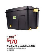 Turnk with wheels black 110L offers at R 170