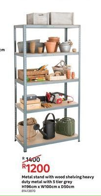 Metal stand with wood shelving heavy duty metal with 5 tier grey offers at R 1200