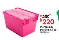 Storage box plastic pink 68L offers at R 220