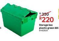 Storage box plastic green 68L offers at R 220