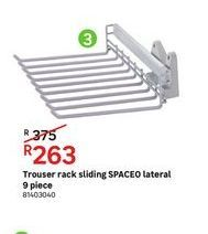 Trousert rack sliding SPACEO lateral 9 piece offers at R 263