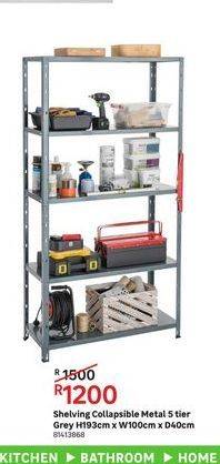 Shelving collapsible metal 5 tier grey offers at R 1200