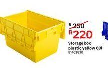 Storage box plastic yellow 68L offers at R 220