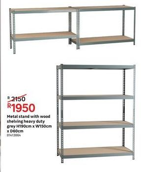 Metal stand with wood shelving heavy duty grey offers at R 1950