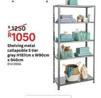 Shelvong metal collapsible 5 tier grey offers at R 1050