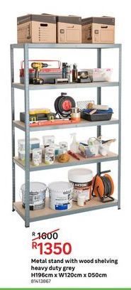 Metal stand wwith wood shelving heavy duty grey offers at R 1350