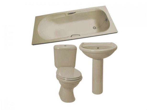 Coral Almond Dual Top Flush Toilet Suite, Bath, Basin & Pedestal Set offers at R 3899,9
