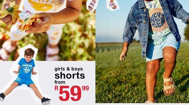 Girls & boys shorts offers at R 59,99