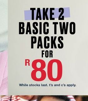 Take basic two packs  offers at R 80