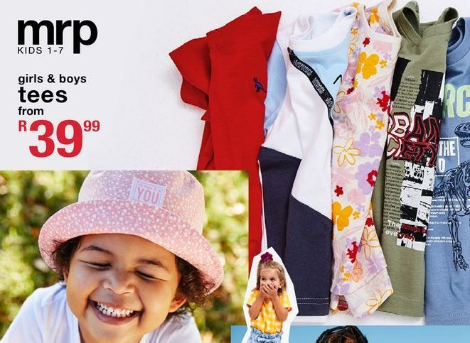 Girls & boys tees offers at R 39,99