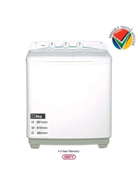 Defy 8kg White Twin Tub Washing Machine Dtt166 offers at R 2399