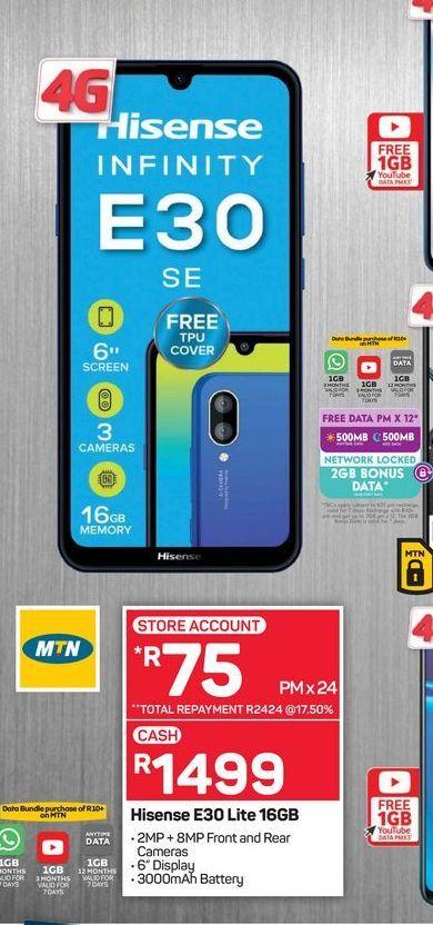 Hisense E30 Lite Smartphone offers at R 1499