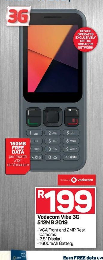 Vodacom Vibe smartphone offers at R 199