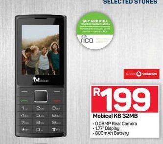 Mobicel K6 offers at R 199