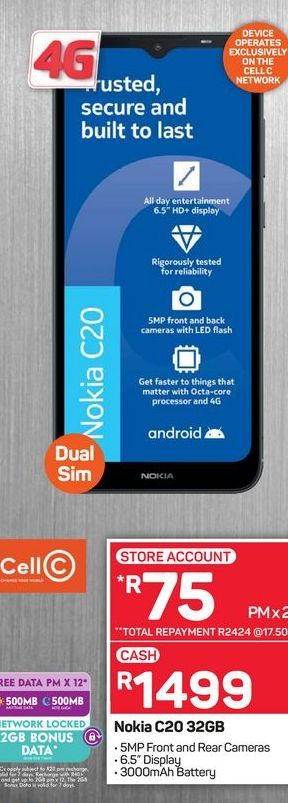 Nokia C20 phone offers at R 1499