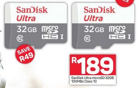 Sandisk 32GB Micro SD Card  offers at R 189