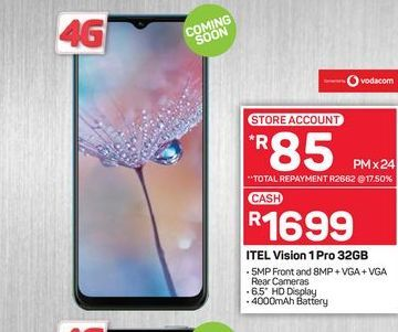 ITEL Vision 1Pro smartphone offers at R 1699