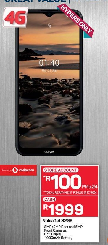 Nokia 1.4 phone offers at R 1999