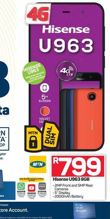 Hisense U963 Smartphone offers at R 799
