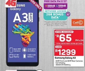 Samsung Galaxy A3 Smartphone offers at R 1299