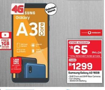 Samsung Galaxy A3 Core Smartphone offers at R 1299