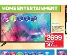 "Hisense 32"" HD Ready TV offers at R 2699"