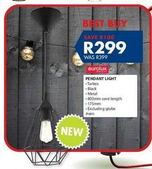 Pendant light offers at R 299
