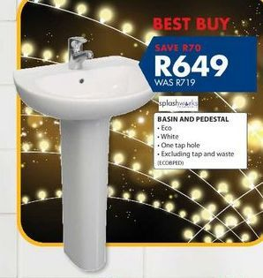 Basin and pedestal offers at R 649